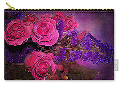 Pink And Purple Floral Bouquet Carry-all Pouch by Phyllis Denton
