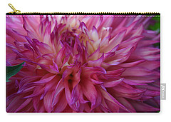 Carry-all Pouch featuring the photograph Pink And White Dahlia  by Denyse Duhaime