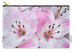 Pink And White Lilies Carry-all Pouch by Jane McIlroy