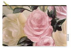 Pink And Yellow Roses In Teapot Painting Carry-all Pouch