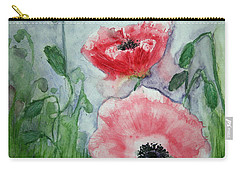 Carry-all Pouch featuring the painting Pink Anemones by Marna Edwards Flavell