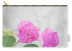 Pink Bougainvillea Flowers On White Silk Art Prints Carry-all Pouch