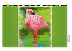Carry-all Pouch featuring the painting Pink Flamingo by Deborah Boyd