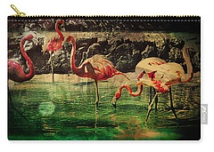 Carry-all Pouch featuring the digital art Pink Flamingos - Shangri-la by Absinthe Art By Michelle LeAnn Scott