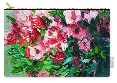 Pink Flowers Carry-all Pouch by Ana Maria Edulescu