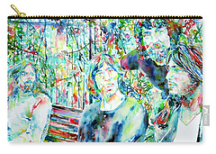 Pink Floyd At The Park Watercolor Portrait Carry-all Pouch by Fabrizio Cassetta