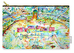 Pink Floyd Live At Pompeii Watercolor Painting Carry-all Pouch