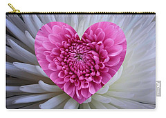 Pink Heart On White Carry-all Pouch