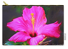 Pink Hibiscus Digital Painting In Oil Carry-all Pouch