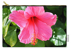 Pink Hibiscus With Large Stamen Carry-all Pouch by Jay Milo
