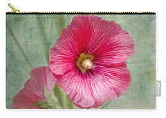 Pink Hollyhocks Carry-all Pouch by Lena Auxier
