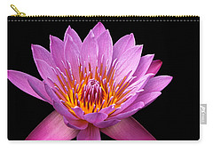 Carry-all Pouch featuring the photograph Pink Lady On Black by Judy Vincent