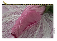 Carry-all Pouch featuring the photograph Pink Lavatera Bud Macro by Sandra Foster