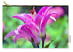 Pink Lilies Carry-all Pouch by Deena Stoddard