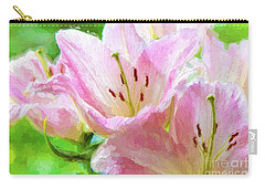 Pink Lilies Digital Painting Impasto Carry-all Pouch
