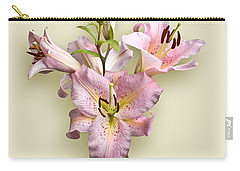 Pink Lilies On Cream Carry-all Pouch by Jane McIlroy