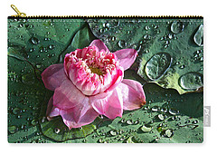 Pink Lotus Flower Carry-all Pouch by Venetia Featherstone-Witty