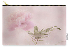 Pink Peony Blossom In Clear Glass Tea Pot Carry-all Pouch by Sandra Foster