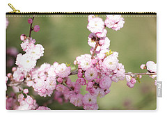 Pink Plum Branch On Green 2 Carry-all Pouch