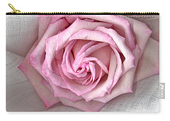 Carry-all Pouch featuring the photograph Pink Rose And Linen by Sandra Foster