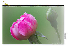 Pink Rose And Raindrops Carry-all Pouch