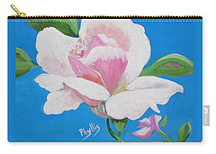 Carry-all Pouch featuring the painting Pink Rose In Paint by Phyllis Kaltenbach