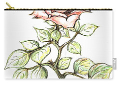 Pink Rose Carry-all Pouch by Teresa White