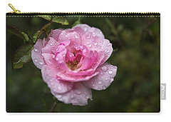 Carry-all Pouch featuring the photograph Pink Rose With Raindrops by Belinda Greb