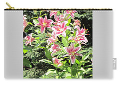Pink Stargazer Lilies-greeting Card Carry-all Pouch