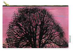 Carry-all Pouch featuring the drawing Pink Sunset Tree by D Hackett