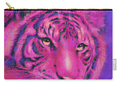 Carry-all Pouch featuring the digital art Pink Tiger by Jane Schnetlage