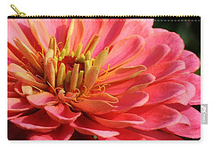 Pink Zinnia Touched By Mornings Light Carry-all Pouch by Bruce Bley