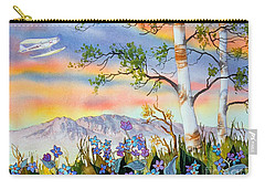Carry-all Pouch featuring the painting Piper Cub Over Sleeping Lady by Teresa Ascone