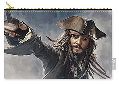 Pirates Of The Caribbean Johnny Depp Artwork 2 Carry-all Pouch by Sheraz A