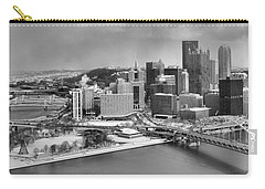 Pittsburgh Black And White Winter Panorama Carry-all Pouch by Adam Jewell