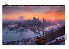 Carry-all Pouch featuring the photograph Pittsburgh Skyline Winter 2 by Emmanuel Panagiotakis