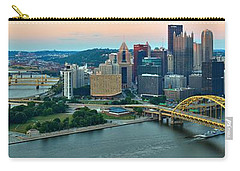 Pittsburgh Panorama At Dusk Carry-all Pouch by Adam Jewell