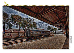 Carry-all Pouch featuring the photograph platform view of the first railway station of Tel Aviv by Ron Shoshani