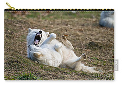 Carry-all Pouch featuring the photograph Playful Arctic Wolves by Wolves Only