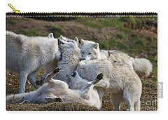 Carry-all Pouch featuring the photograph Playful Pack by Wolves Only