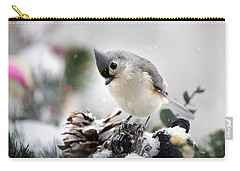 Playful Winter Titmouse Carry-all Pouch by Christina Rollo