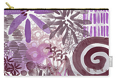 Plum And Grey Garden- Abstract Flower Painting Carry-all Pouch