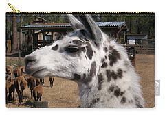 Carry-all Pouch featuring the photograph Polka Dot Llama Pogo Rules by Belinda Lee