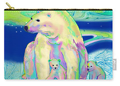 Carry-all Pouch featuring the painting Polar Bear Aurora by Teresa Ascone