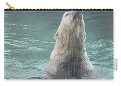 Polar Bear Jumping Out Of The Water Carry-all Pouch by John Telfer