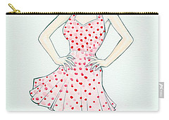 Polka Dot Pink Carry-all Pouch by Jimmy Adams