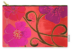 Pop Spring Purple Flowers Carry-all Pouch by Linda Bailey
