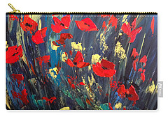Poppies Field On A Windy Day Carry-all Pouch