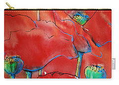 Carry-all Pouch featuring the painting Poppies II by Jani Freimann