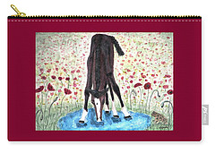 Poppies N  Puddles Carry-all Pouch by Angela Davies